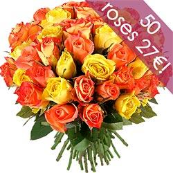 33.00 € : OFFRE EXCEPTIONNELLE ! 10 ROSES EN PLUS :50 roses au lieu de 40 pour 27 € seulement !60 roses au lieu de 50 pour 33 € seulement !Séduisante harmonie !Voici une merveilleuse brassée de roses fraîches et naturelles aux couleurs chaudes. Une variété de rose orange 'Tropical Amazone', jaune 'Sunrisa' et jaune flammée orange 'Cinder' se mélange avec gaieté dans ce bouquet aux tons acidulés. Voici un ravissant bouquet coloré à offrir sans hésiter !
