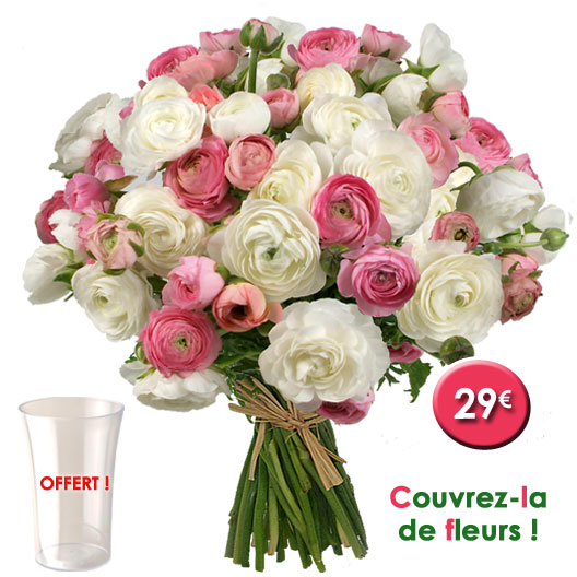 Aquarelle bouquet 50 renoncules vase offert 29 for Bouquet de fleurs pas cher livraison gratuite